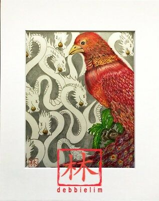 "Feng Shui Original""Red Phoenix w// Dragons Bkgd"" **11x14 Total Size"