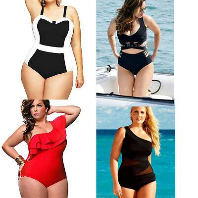 Women Plus Size High Waist One-Piece Padded Monokini Swimsuit Bikini Swimwear