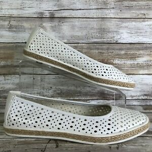 Aerosoles-8-5M-Trust-Fund-White-Perforated-Espadrille-Flats-Loafers-Womens