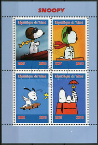 Chad-2019-CTO-Snoopy-Peanuts-4v-M-S-Cartoons-Comics-Stamps