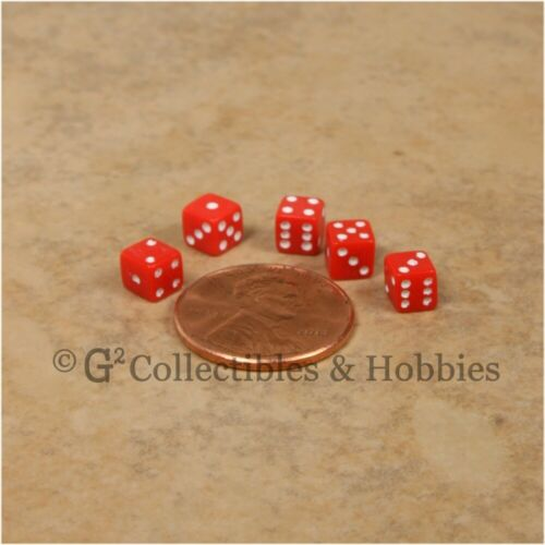 NEW 5mm 50 Blue Red Mini Six Sided Dice Set RPG Game Miniature 3//16 inch Tiny D6