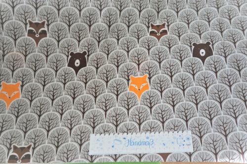zorros 1,60m ancha algodón tejido de tela tela decorativa De toalla bosque animales