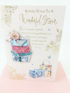 Image Is Loading Lovely Sister Birthday Card Special Sentimental Nice