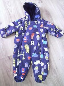 c8e8407d6 Ex M&S Baby Boys Navy Blue Animal Zoo Snowsuit All in One Age 3 6 | eBay