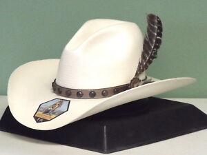 49151aaa0a7e2 STETSON BROKEN BOW 10X SHANTUNG STRAW GUS STYLE COWBOY WESTERN HAT ...