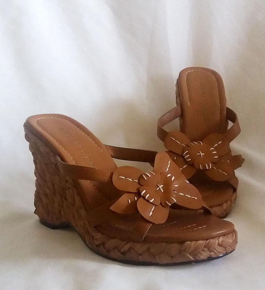 Apostrophe Women's Size 7 Open-Toe Applique Wedge Espadrilles with Flower Applique Open-Toe 6a8d05