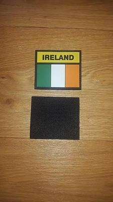 IRISH /IRELAND RUBBERISED COLOUR FLAG HOOK AND LOOP TYPE BACKED PATCH - NEW