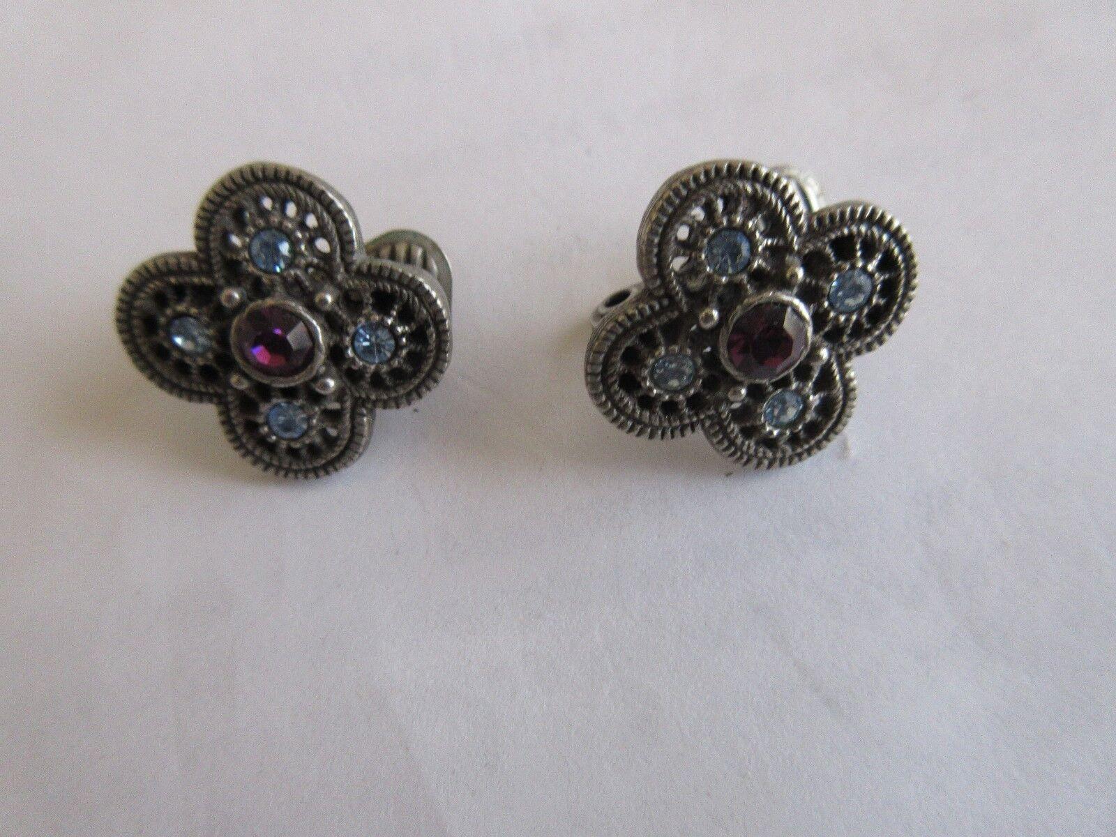 """Ladies Earrings , Stones , 1/2"""" X 1/2"""" , Clip On"""