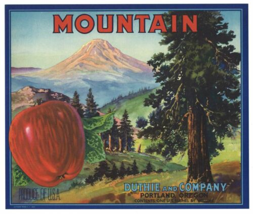 Forest Details about  /MOUNTAIN Vintage Portland Apple Crate Label AN ORIGINAL LABEL Scenic