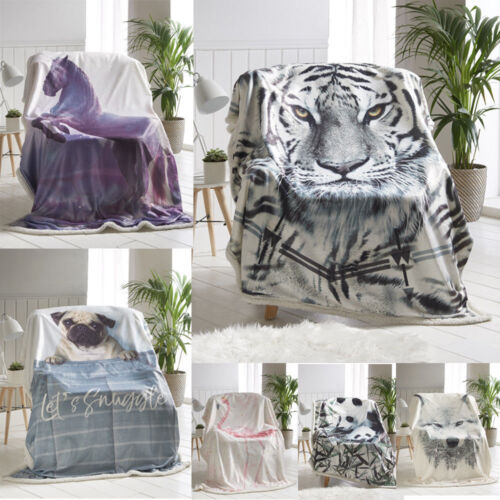 Flannel Sherpa 3D Animal Throws Super Soft Warm Cosy Sofa /& Bed Fleece Blankets