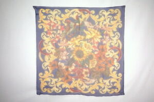 CHANEL-90-cm-Large-Scarf-100-Silk-Stall-Shawl-Flower-Floral-pattern-Navy-2501k