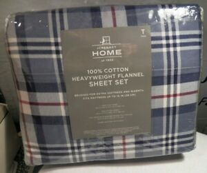 FULL SIZE JCP HOME FLANNEL PLAID FLAT//FITTED//PILLOW CASES SHEET SET