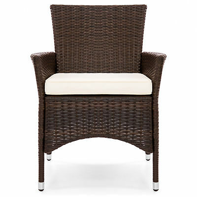 Details About 2 Pcs Set Brown Outdoor Wicker Patio Garden Cushioned Dining Chairs Furniture