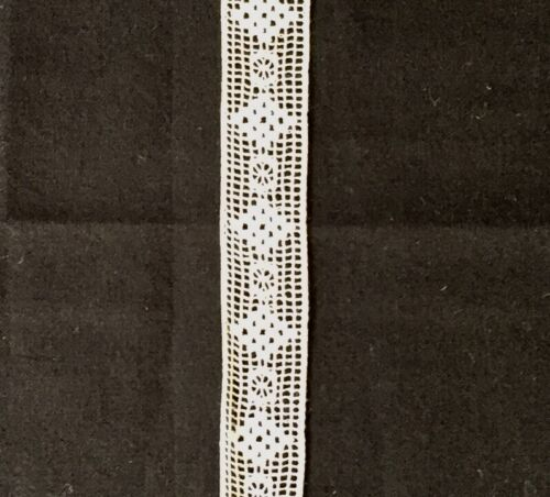 UNUSED Antique Fine Cotton Insertion Lace Trim Heirloom Doll Sew 2cm x 1 metre
