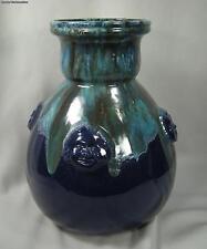 Atelier Primavera Blue Pottery Drip Vase With Faces