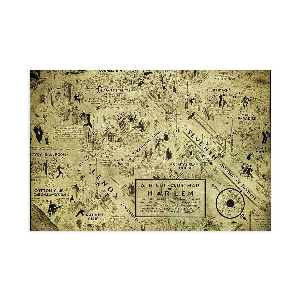 Stampa su Tela su Carta Poster o Quadro Cannon Bill A night club map of Harlem