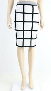 Karen-Millen-Womens-White-Black-Striped-Stretchy-Material-Skirt-UK-10-38-SMALL