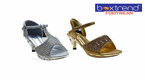 SincèRe Neuf Filles Enfants Sandale Talon Haut Bride à Boucle Strass Mariage Fête Prom Shoes-afficher Le Titre D'origine