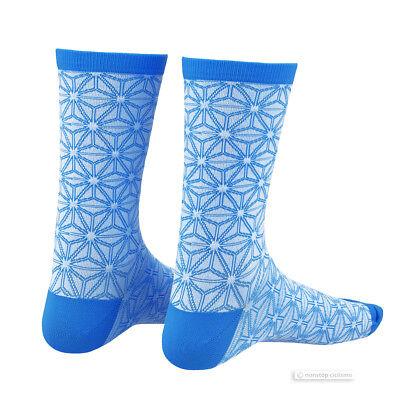 Supacaz SupaSox ASANOHA Tall Cycling Socks NEON BLUE//BLACK One Pair