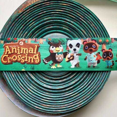 38mm Per Meter Animal Crossing Ribbon Grosgrain Bells Nook Bows Craft Cake Dec
