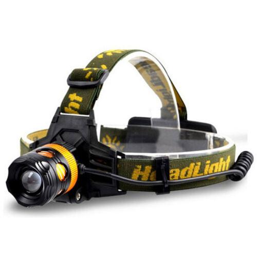 LED Headlamp 2LED Headlight Blue Yellow Fishing Flashlight Torch 18650 battery