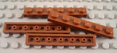 LEGO Lot of 4 Reddish Brown 1x1 Smooth Tile Pieces