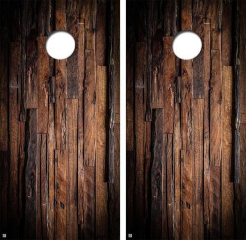 Dark Uneven Hard Wood Blank Board Series Cornhole Board Decal Wrap FREE SQUEEGEE
