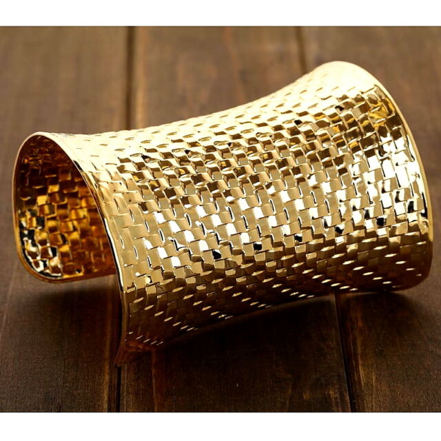 Gold Plated Wide Roman Egyptian Cleopatra Pharaoh Tribal Slave Wide Bangle Cuff