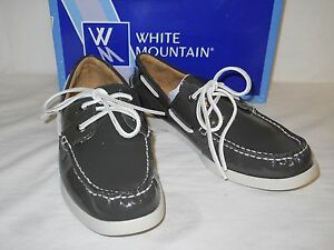 White-Mountain-New-Womens-Headsail-Charcoal-Patent-Leather-Boat-Shoes-10-M-NWB
