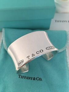 1b324bcd9 Tiffany & Co Sterling Silver 1837 Wide Cuff Bangle Bracelet. Small ...