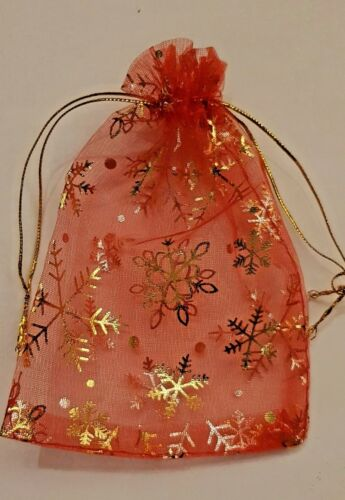 Organza gift bag Red//White on sp.offer prices for Christmas etc pack of 5 or 10