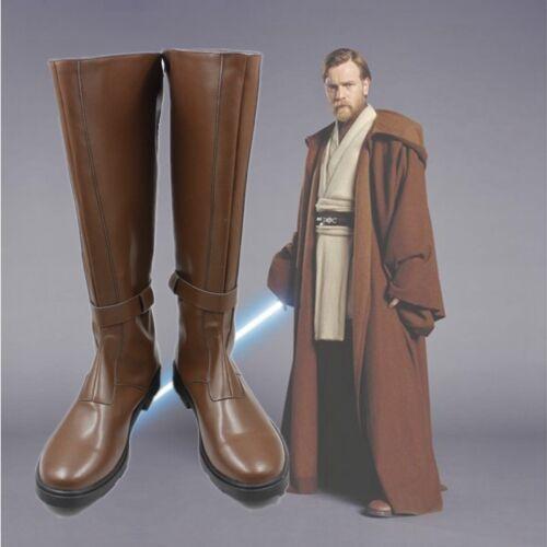 Star Wars Obi-Wan Kenobi Jedi Master Brown Long Cosplay Shoes Boots C006