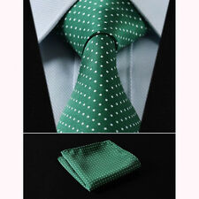 Mens Wedding Tie SALE  Polka Dot Green Woven Silk + FREE HANKY