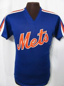 vintage NEW YORK NY METS STRIPED BASEBALL JERSEY 80s retro sewn blue t-shirt M