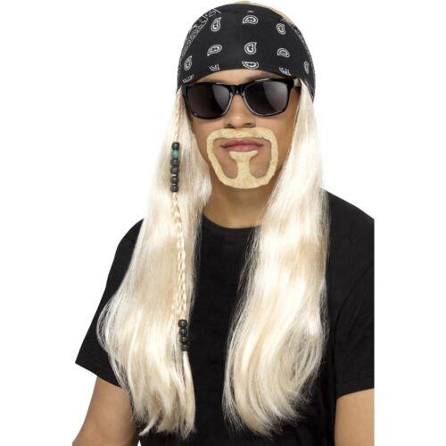 Blonde Hard Rocker Wig Beard Glasses Biker Hells Angels Mens Fancy Dress Costume