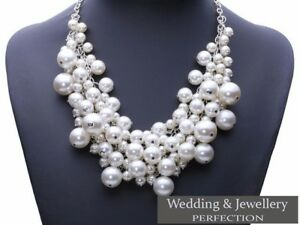 New-White-Pearl-Multi-Layer-Necklace-Ladies-Statement-Bib-Beaded-Vintage-Chunky