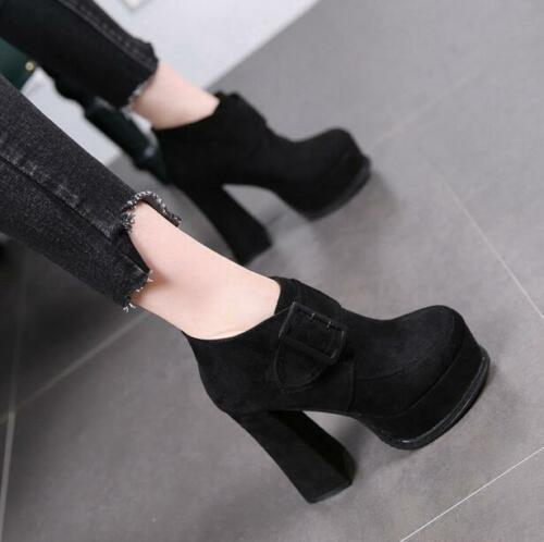 # Punk Womens High Block Heel Platform Round Toe Buckle Ankle boots Shoes