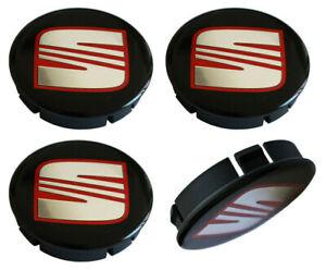 4x-60-55mm-SEAT-Nabendeckel-Felgendeckel-Radkappen-Kappen-Silikon-Emblem-Schwarz