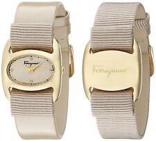 Ferragamo Women's FIE030015 VARINA Diamond Gold IP Beige 2 Leather Bands Watch