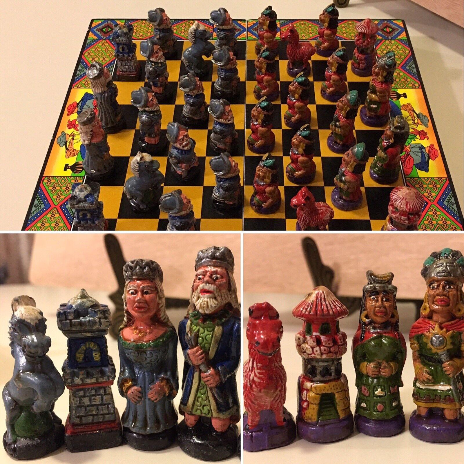 Vintage Chess Set Mayan Native American Spanish Conquistadors Enamel Terracotta