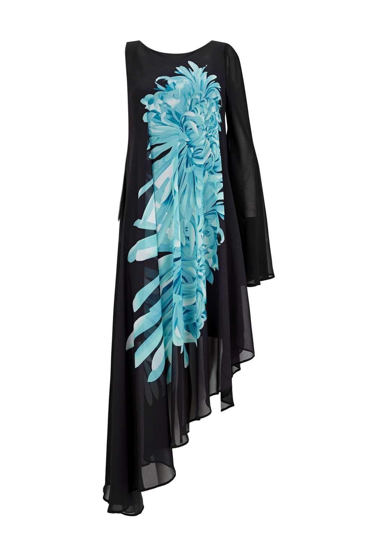Sapphire Nero floreale asimmetrico dress 10 10 10 1b7f11