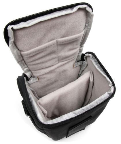 Negro y Gris Nylon llevar caso bolsa para Sony ILCE-QX1 QX10 cámara estilo lente