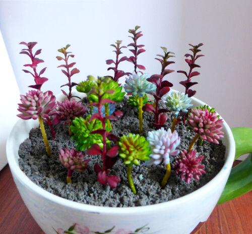 25 Red Miniature Grass Artificial Succulents Plants 3 Colors Stone Grass