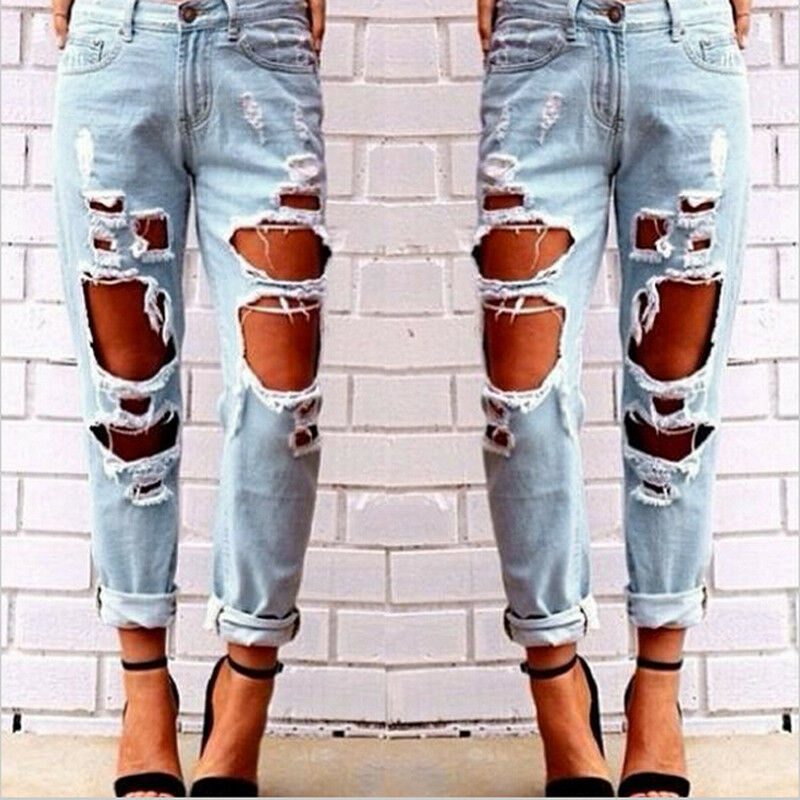 Sexy Women Destroyed Ripped Distressed Slim Denim Pants Boyfriend ...