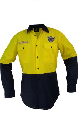 Sydney Roosters NRL LONG Sleeve Button Work Shirt HI VIS YELLOW//NAVY Gift