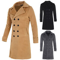 Men's Slim Fit Double Breasted Wool Blends Trench Coat Long Jacket Slim Stylish