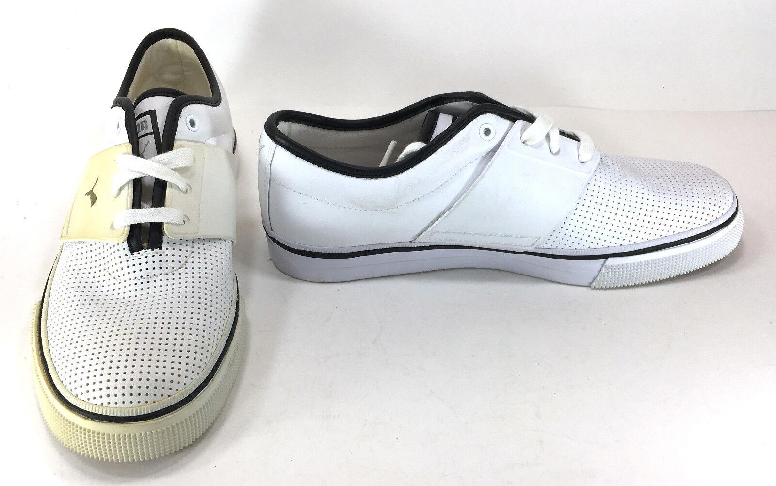 Zapatos Puma El Ace Perforada De Cuero blancoo Negro Zapatillas Tamaño 8.5