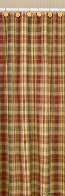 Saffron Shower Curtain 72x72 Country Red Sage Green Golden Tan Plaid Cotton Bath