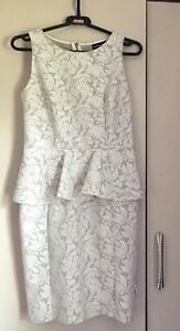 Warehouse-Peplum-Dress-In-Cream-Nude-Lace-Size-10-Length-33-034