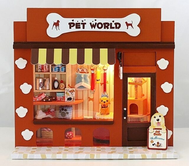 Dollhouse Miniature DIY Kit with Light Pet World Store Shop